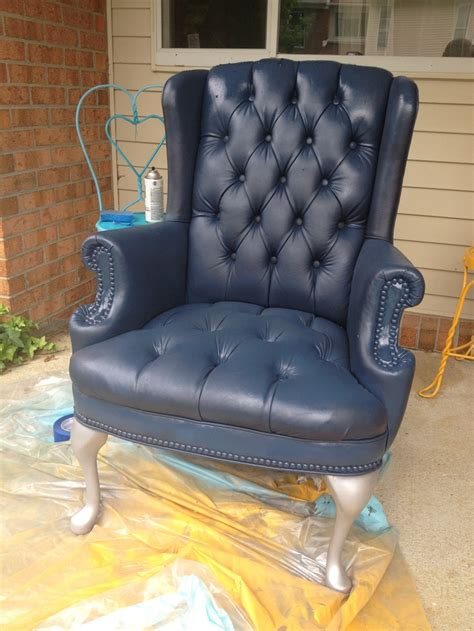 Painting Pleather Furniture by Diy Painted Faux Leather Pleather Vinyl Armchair