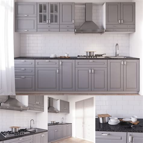 Kitchen Interior Design Images by Ikea Bodbyn 3d Model