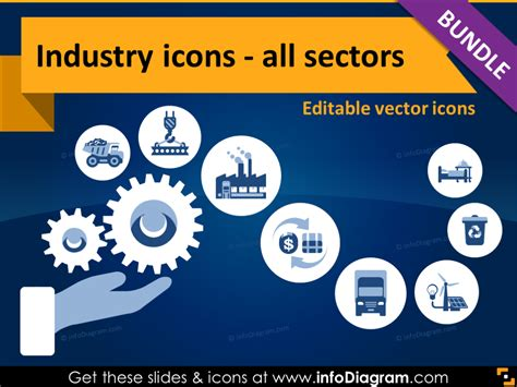production symbols 64 industry editable icons with simple flat style