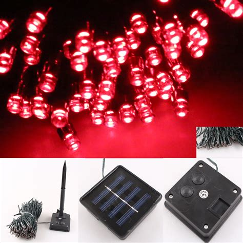 solar powered christmas tree lights red 100 led waterproof outdoor solar powered string fairy