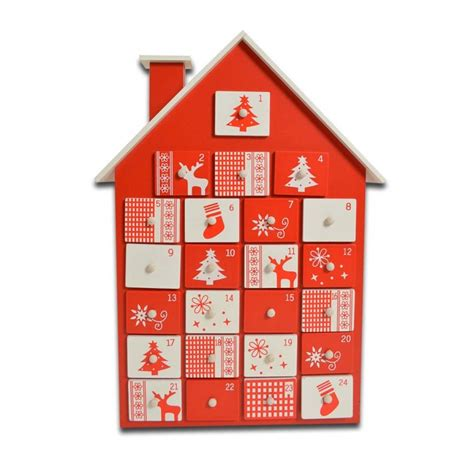 musical advent calendar house red and white wooden fill your own advent calendar house shape