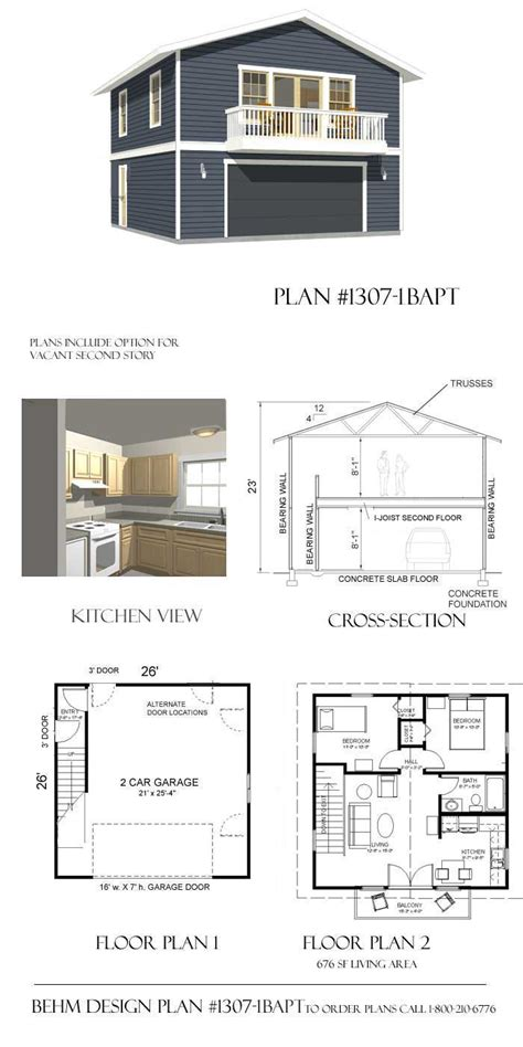 2 Story Apartment Plans by 2 Car Garage Plan With Two Story Apartment 1307 1baptbehm
