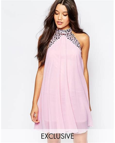 high neck swing dress lipsy embellished high neck babydoll swing dress in pink