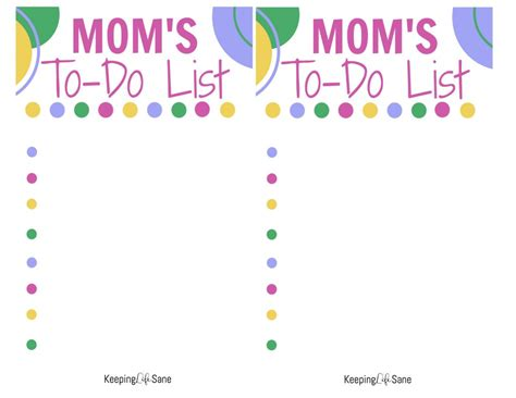 printable to do list for moms to do printable keeping life sane