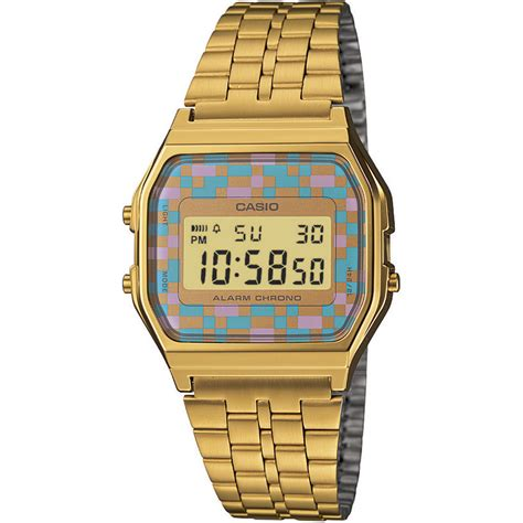 casio classic unisex retro stainless steel gold lcd