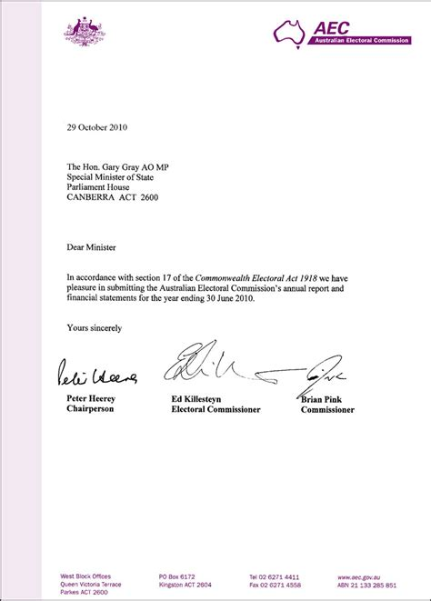 Transmittal Letter Sle For Report 2009 2010 Aec Annual Report