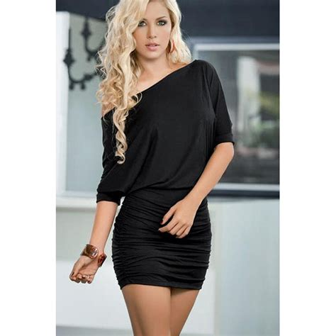 22240 Black Oblique Cut Size L s black oblique neck club ruched bodycon mini dress n14704