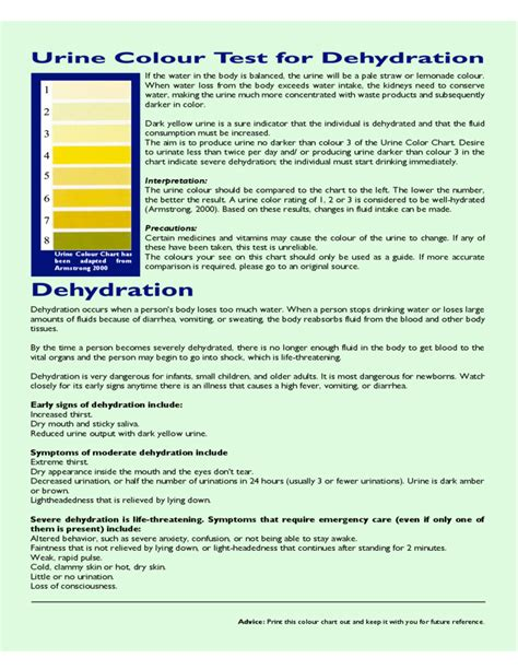 dehydration urine urine color test chart for dehydration free