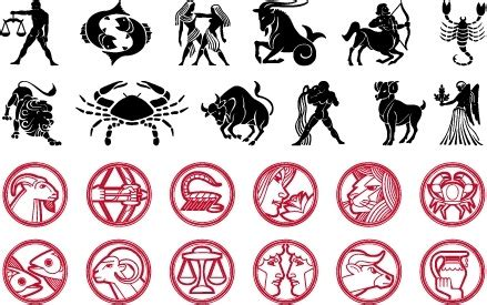 zodiac icons collection black  red silhouette sketch