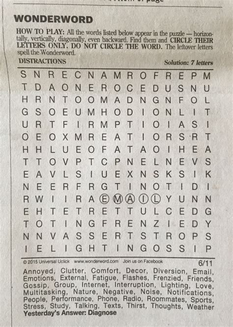 printable wonderword puzzle the second half of my life quot distractions quot indeed