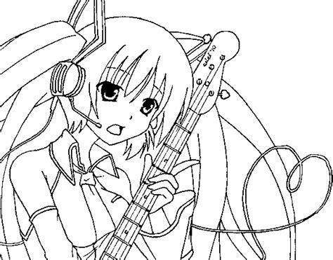 imagenes de hatsune miku kawaii para colorear dibujo de miku con guitarra para colorear dibujos net