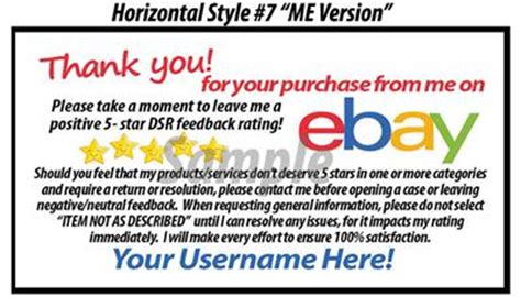 1000 Ds Uv Gloss Ebay Seller Custom 5 Star Dsr Reminder Thank You Business Cards Ebay Ebay Thank You Card Template