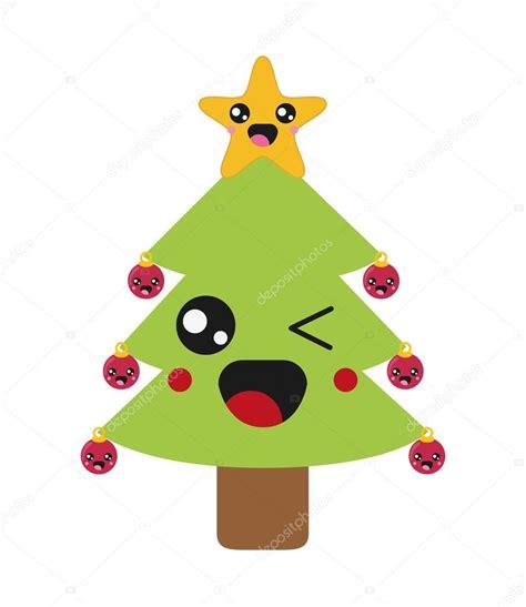 imágenes kawaii de navidad icono de 225 rbol de navidad de kawaii vector de stock