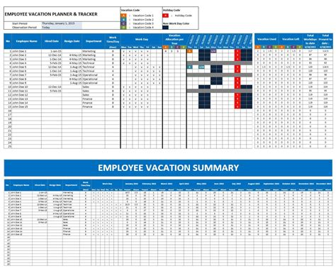 Staff Calendar Template by Employee Vacation Planner