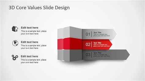 slide d 3d core values slide design for powerpoint slidemodel