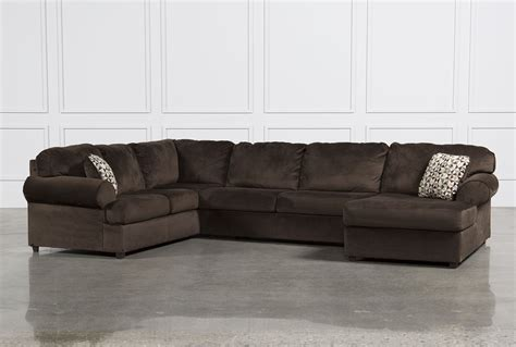 living spaces chaise sofa jessa place chocolate 3 piece sectional w raf chaise