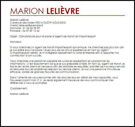 Lettre De Motivation Entreprise De Transport Exemple Lettre De Motivation De Transit Air Import Export Livecareer