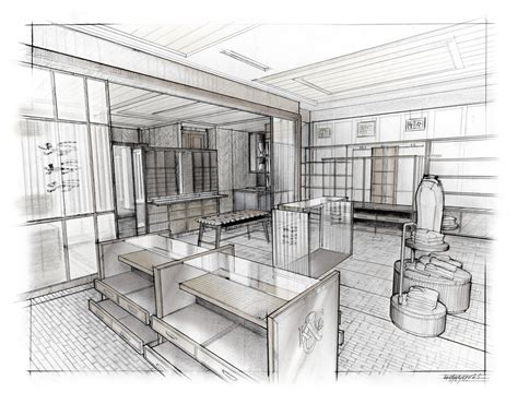 Drawing Interior Space Perspective Gorgeous Property