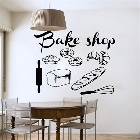bakery shop vinyl wall decal bakery kitchen cafe shop sign bread cake mural wall sticker