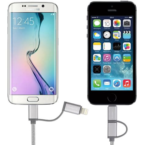 Usb Kabel Resleting 2in1 Micro Usb Iphone 1meter 2in1 micro usb apple lightning kabel cabbrix charge sync in s