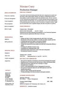 production manager resume sles exles template