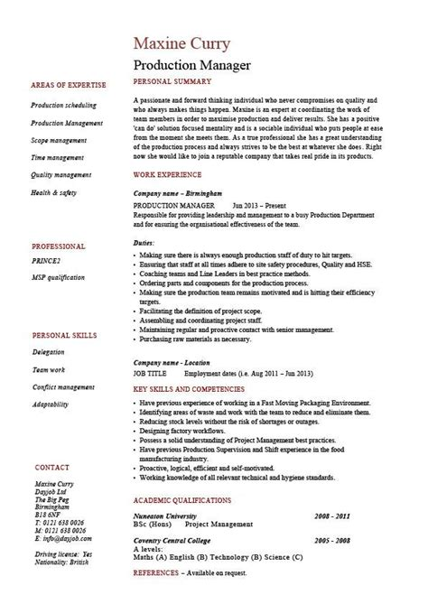 production manager resume example resume samples career help center
