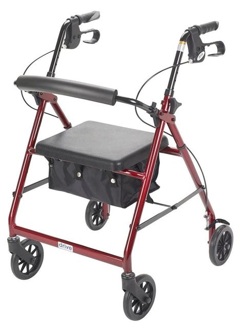 drive 4 wheel walker with seat 4 wheel rollator walker with folding back padded seat