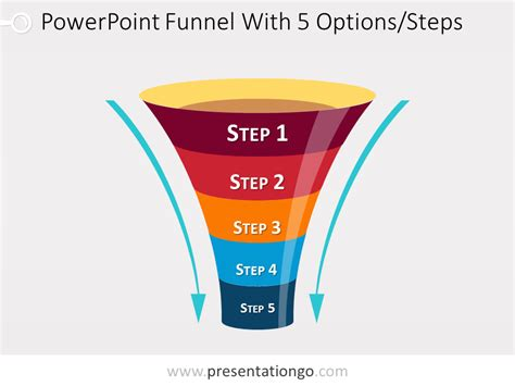 Funnel Diagram For Powerpoint With 5 Steps Free Powerpoint Funnel Template
