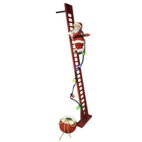 climbing santa ladder christmas decoration mr 40 in climbing santa 36883 the home depot
