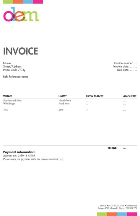 freelance design invoice template free business template