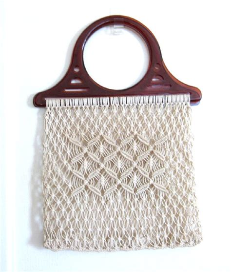 Macrame Shopping Bag - vintage string macrame tote bag market bag by yellowfeathr