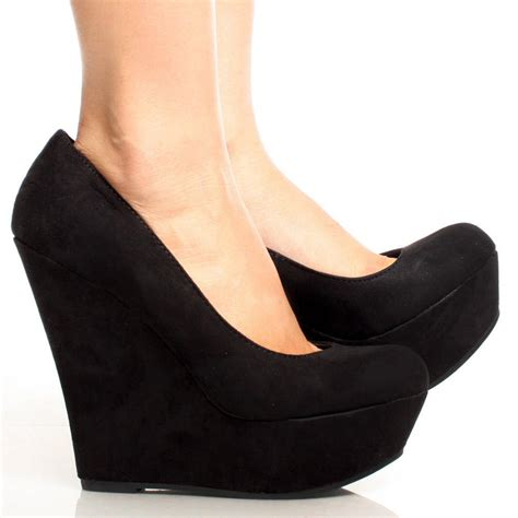 black wedge heel shoes heels me