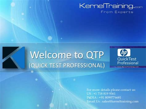 online tutorial powerpoint hp qtp quick test professional basics online training ppt
