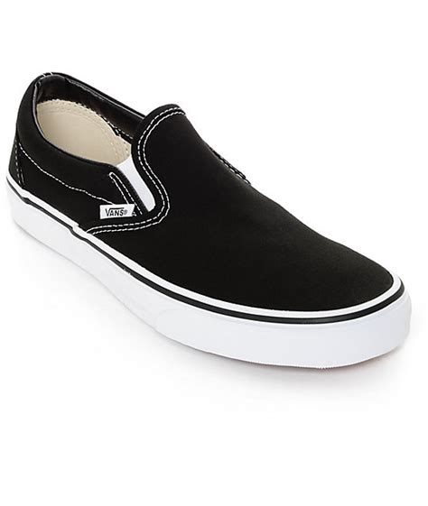 vans classic slip on black white shoes