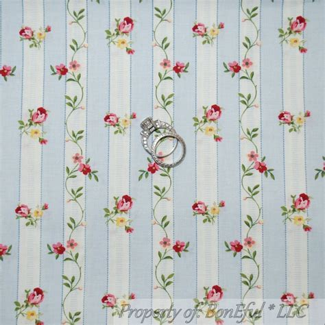 boneful fabric fq cotton quilt blue pink white flower calico stripe shabby chic ebay