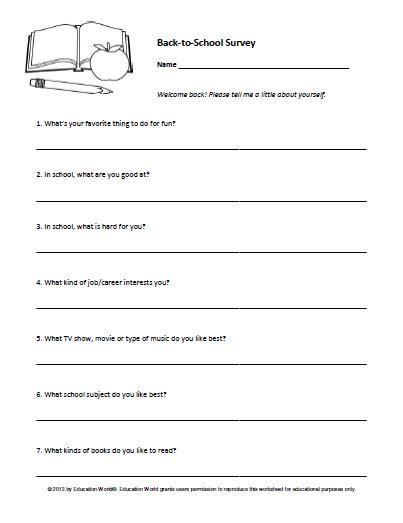 back to school student survey education world