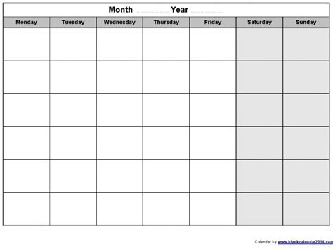 printable monday through sunday calendars free calendar
