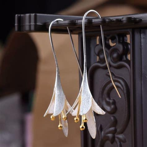 S925 Silver Drop Earring s925 silver ear drop delicate magnolia flower earrings