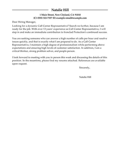 cover letter for customer service representative position example of
