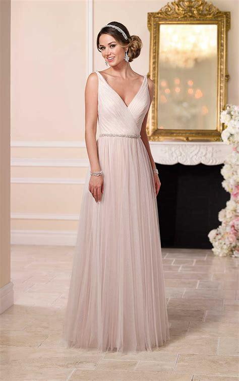 flowy wedding dress  sparkly belt stella york