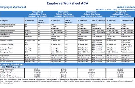 Cost Comparison Worksheet by New Look For Current Renewal Cost Comparison Employee