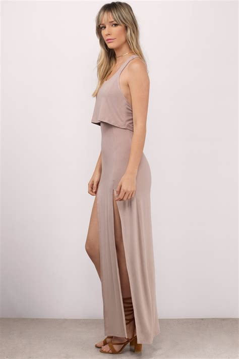 Dress Slit taupe maxi dress front slits dress maxi dress