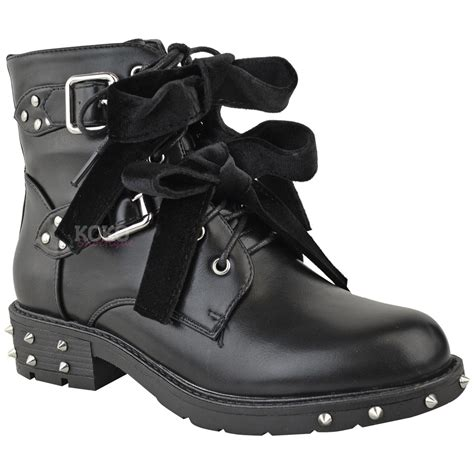 lace up biker boots womens studded lace up ankle boots buckle biker