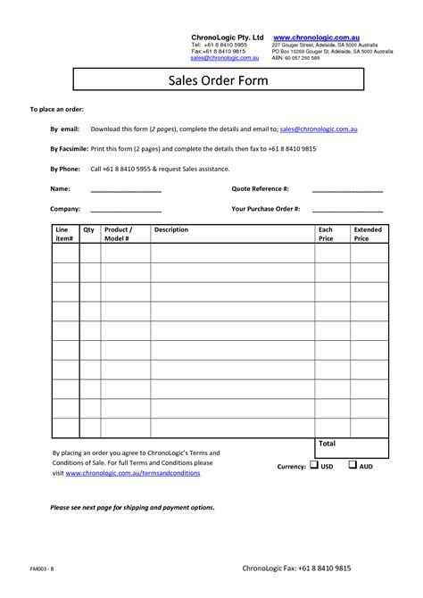 sales order form templates free best photos of sales order form template sales order