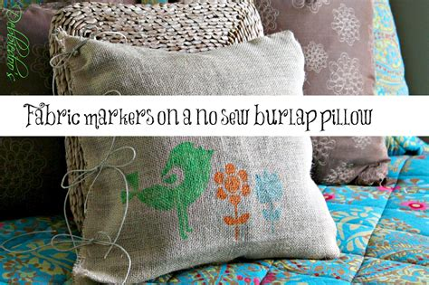 No Sew Burlap Pillow by Diy No Sew Burlap Pillow Stenciled With Fabric Markers