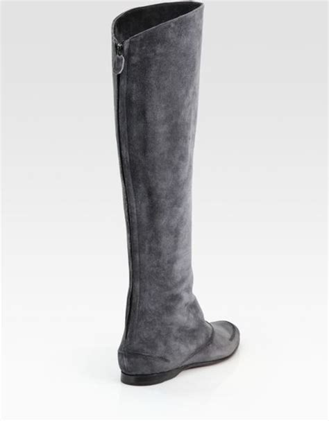 max kibardin suede flat knee high boots in gray grey lyst