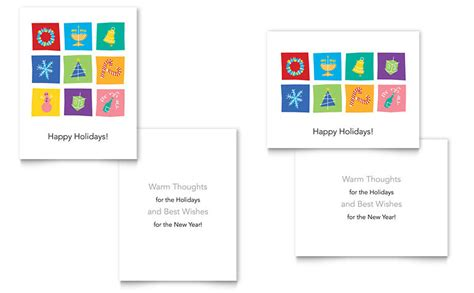 Holiday Icons Greeting Card Template Word Publisher Card Word Template