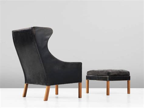 leather wingback chair and ottoman b 248 rge mogensen wingback chair and ottoman in black leather