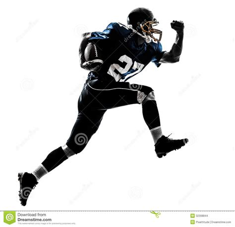 Kickers America Safety american football player running silhouette stock