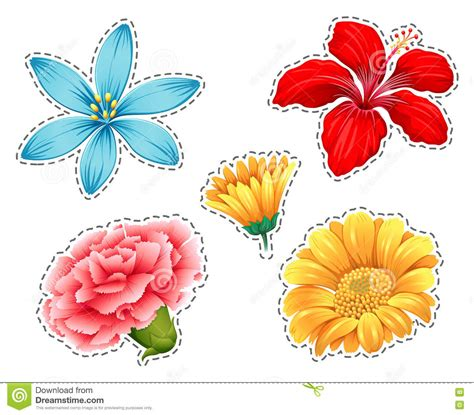 different types of sticker set with different types of flowers stock vector